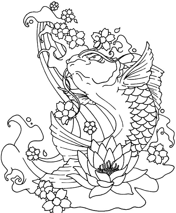 600x728 Koi Fish Jumping Out Of Water Coloring Pages