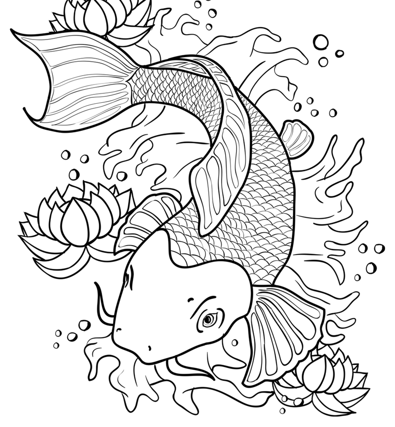 800x864 Great Koi Fish Coloring Pages Printable With Page General Free