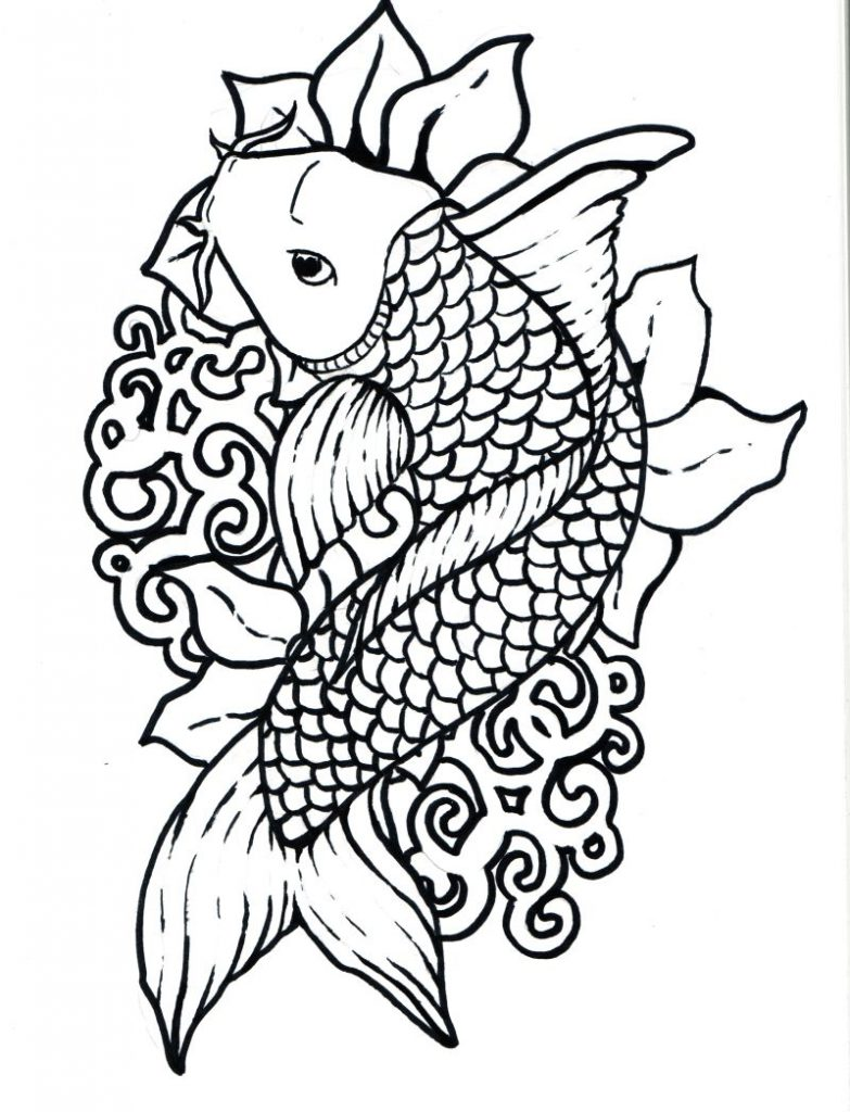 783x1024 Koi Fish Chinese Carps Pisces Adult Antistress Coloring Page