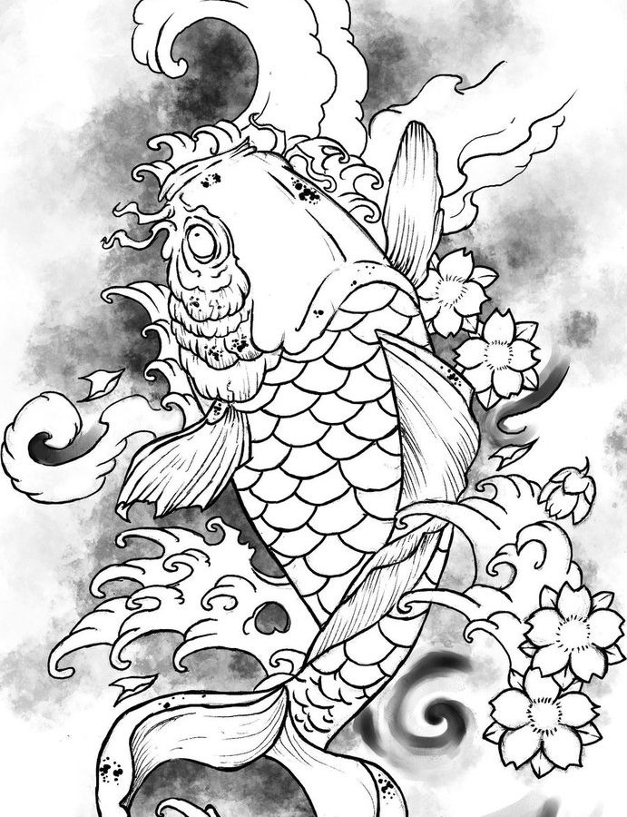 691x900 Koi Fish Coloring Page Free Printable General To Print