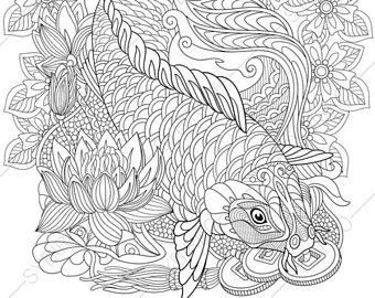 340x270 Koi Coloring Page Etsy