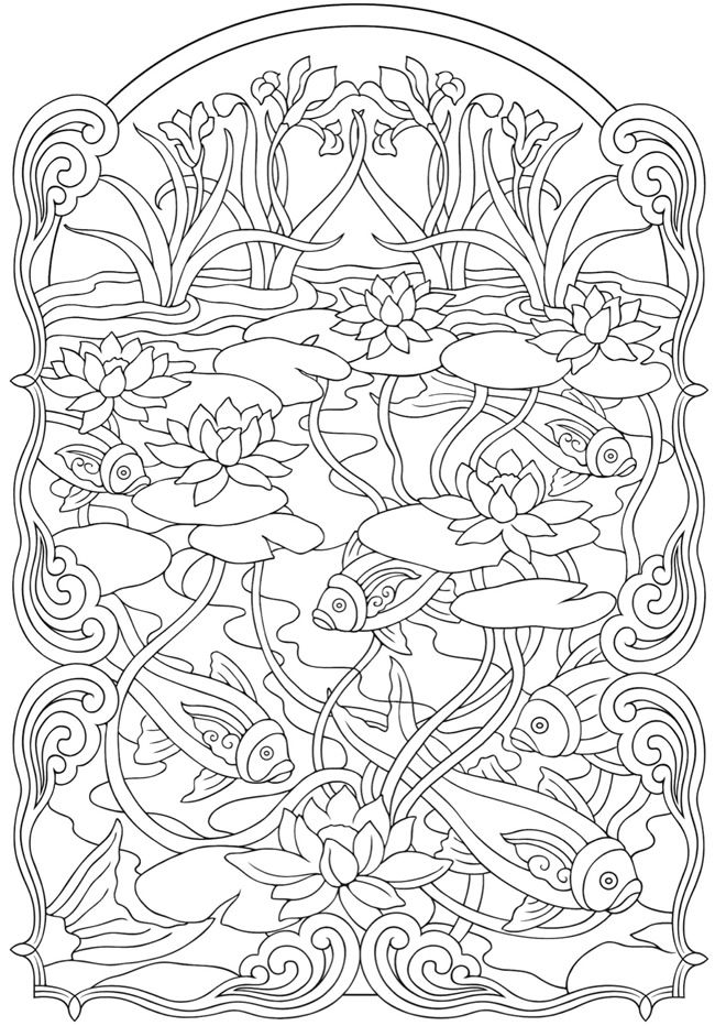 650x932 This Makes Me Want To Have A Koi Pond. Art Nuveau Animal Designs 2
