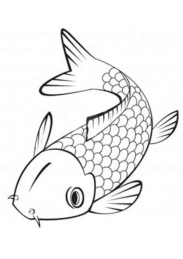 595x842 Print Coloring Image Koi, Printing And Embroidery