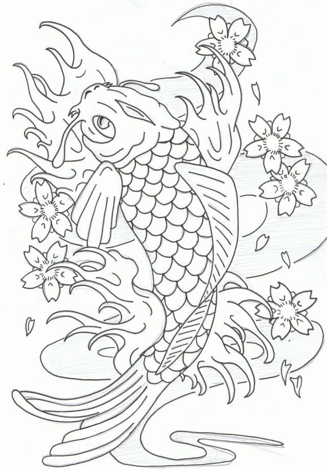 640x918 Beautiful Koi Fish Coloring Pages Printable