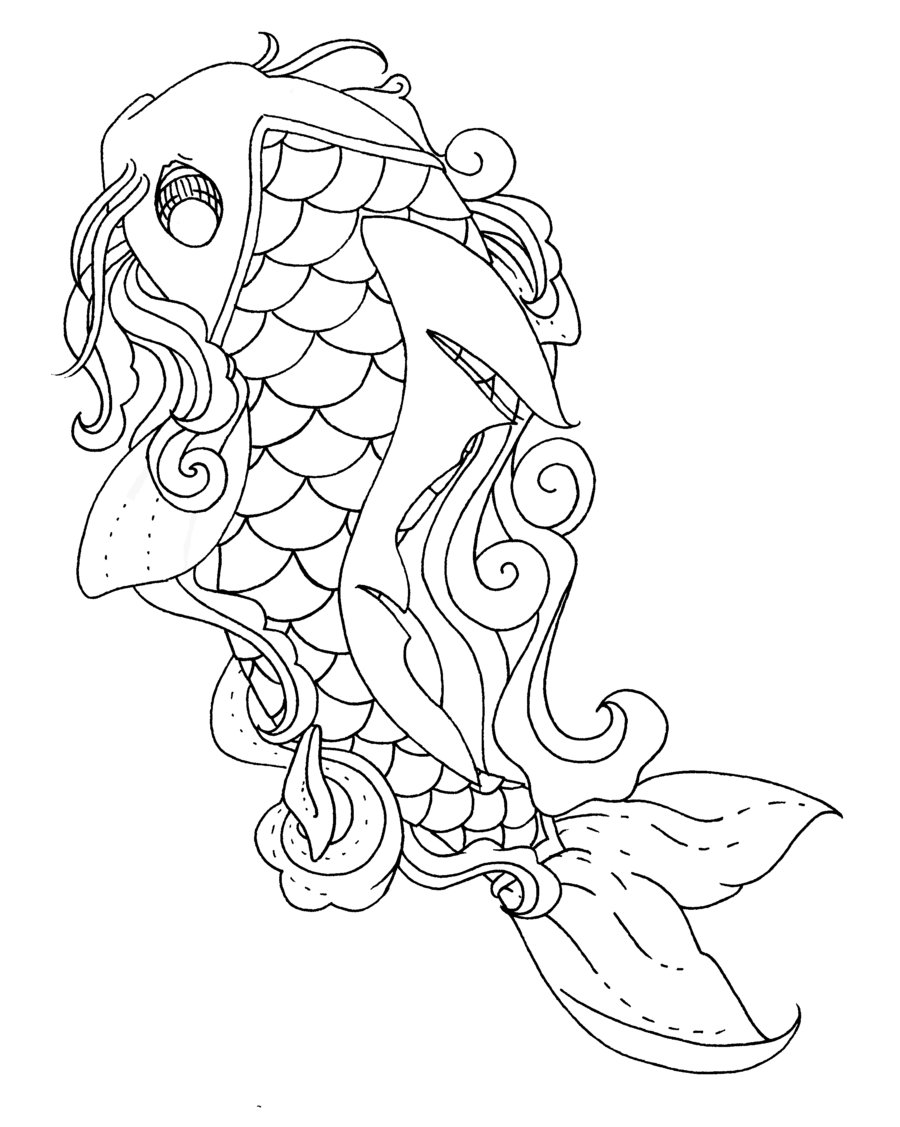 900x1127 Koi Fish Lineart By Pick Your Poison