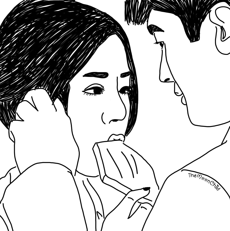 1440x1448 Korean Couple Part 1. Art Tumblr Draw Blackandwhite
