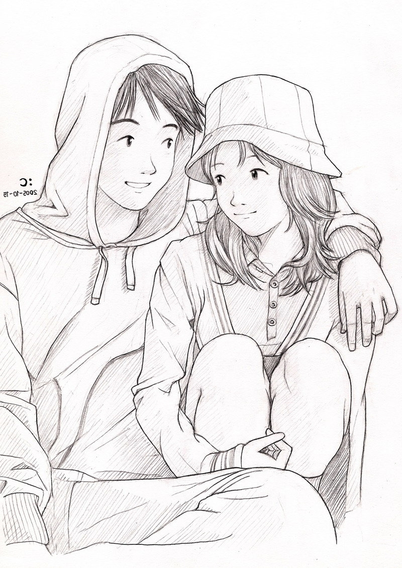 800x1131 Korean Couples Pencil Sketch Pic Simple Pencil Drawing Pictures