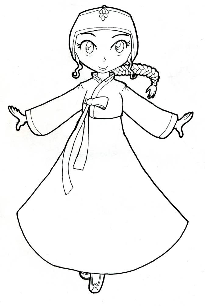 673x1000 Korean Hanbok Coloring Page By Akaitennyo