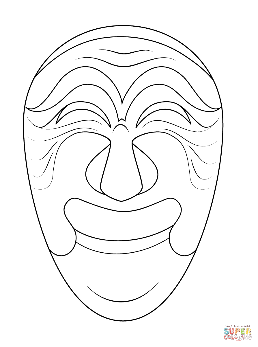 894x1199 Korean Mask Of Yangban Coloring Page Free Printable Coloring Pages