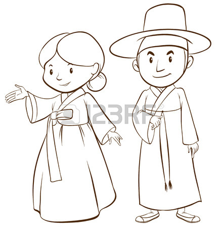 433x450 Illustration Of A Couple Of Korean People Royalty Free Cliparts