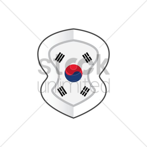 600x600 Korean Flag Label Vector Image