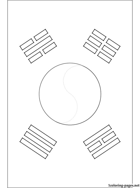 560x750 South Korea Flag Coloring Pages
