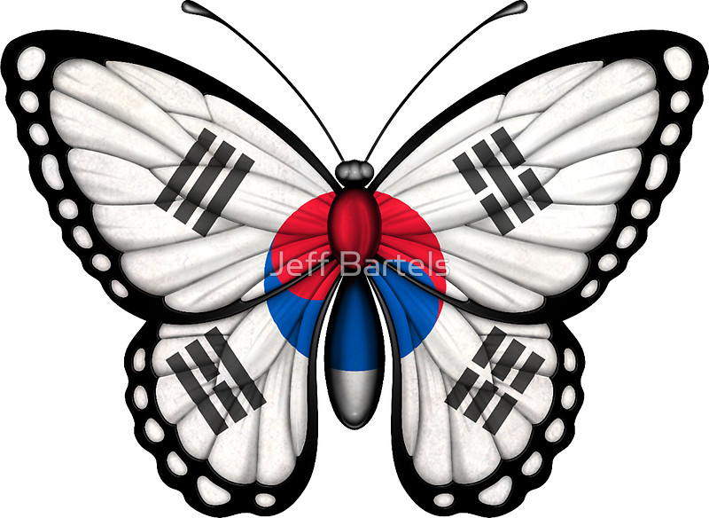 800x584 South Korean Flag Butterfly Stickers By Jeff Bartels Redbubble