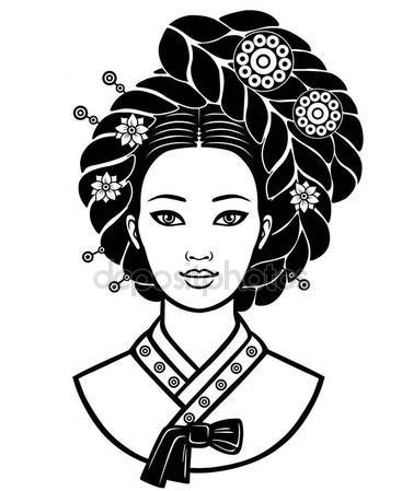 367x449 Portrait Of The Young Korean Girl With An Ancient Hairstyle
