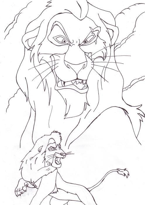 496x702 Scar And Kovu Line Art By Perfectpureblood