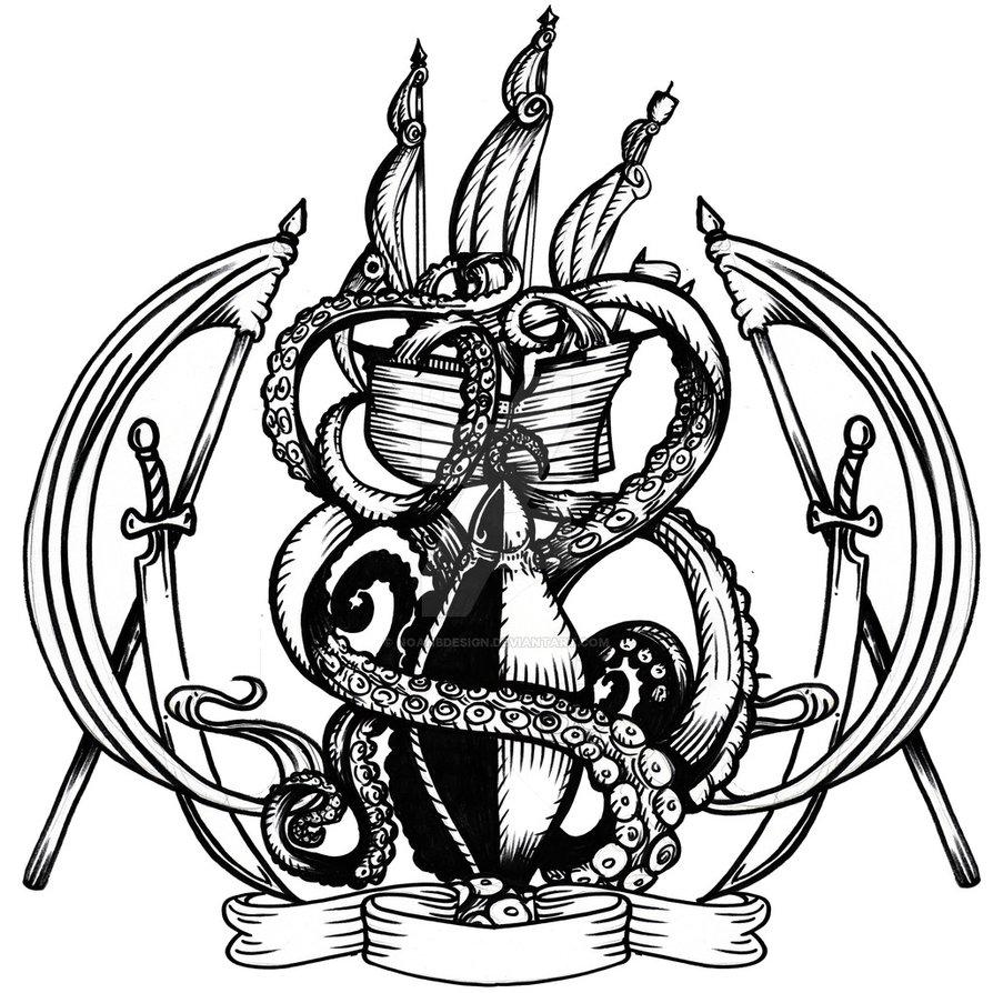 894x894 Kraken And Ship Heraldry Sketch By Noahbdesign