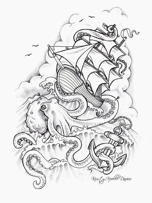 500x667 Kraken Attacking Ship Sketch By Kirsty Noelle Davies. Most Popular