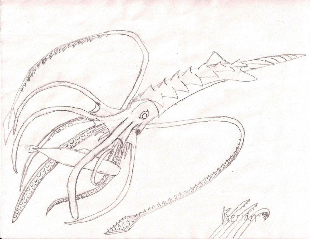 1019x784 Lineart The Kraken By Kerian Halcyon