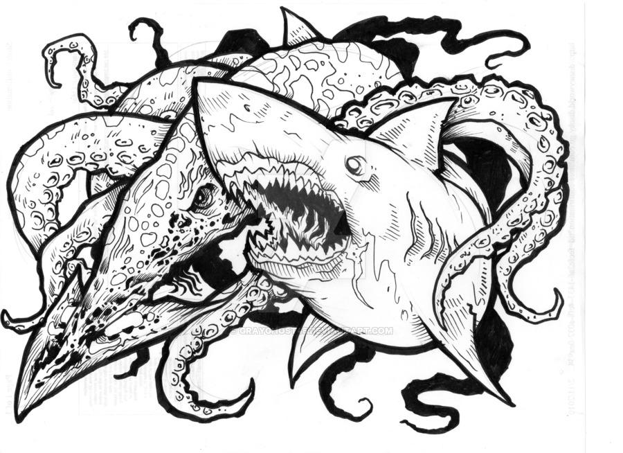900x654 Mega Shark Vs Kraken By Grayghost45