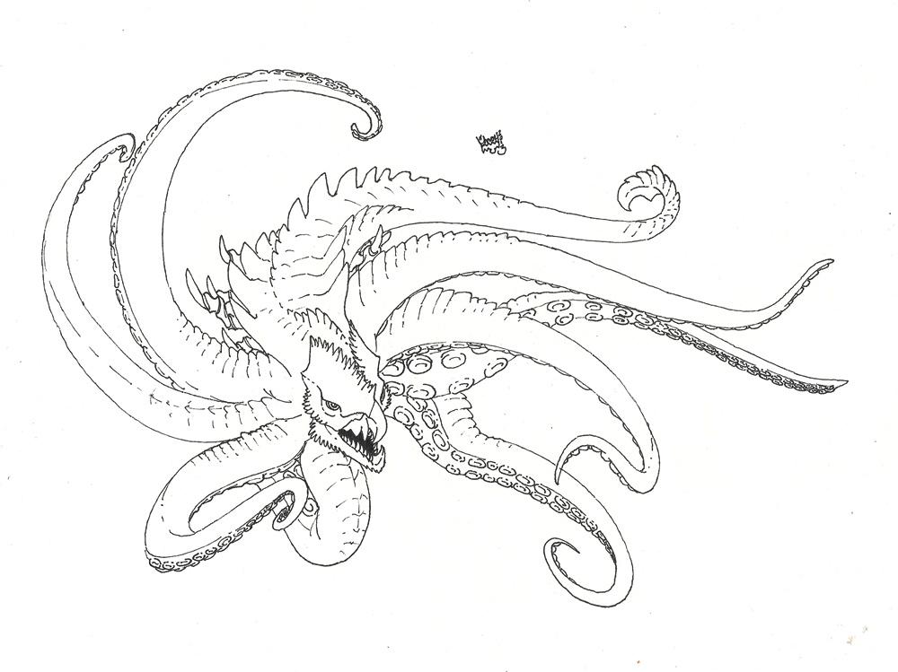 1000x749 Kraken Line Drawing