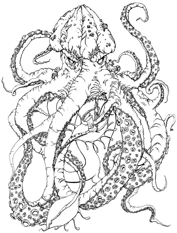 600x788 More Like Saxophone Kraken Lineart By Mooing