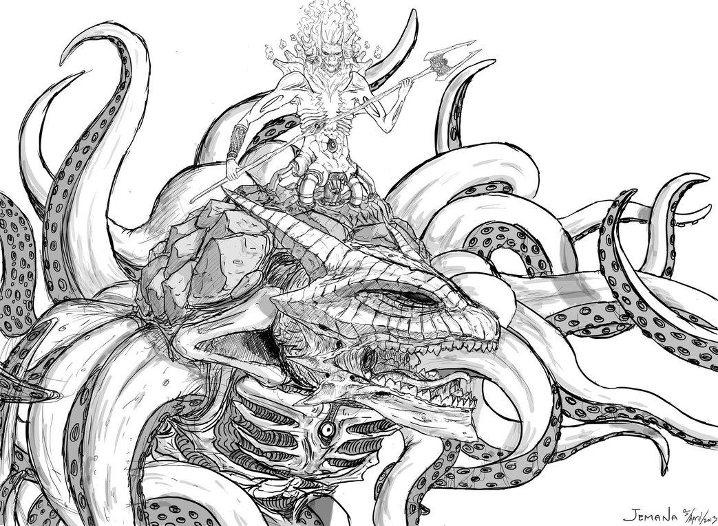 1043x765 Hades And Kraken By Jemanamurti