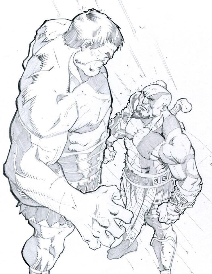 745x960 Kratos Vs Hercules By Chaheene