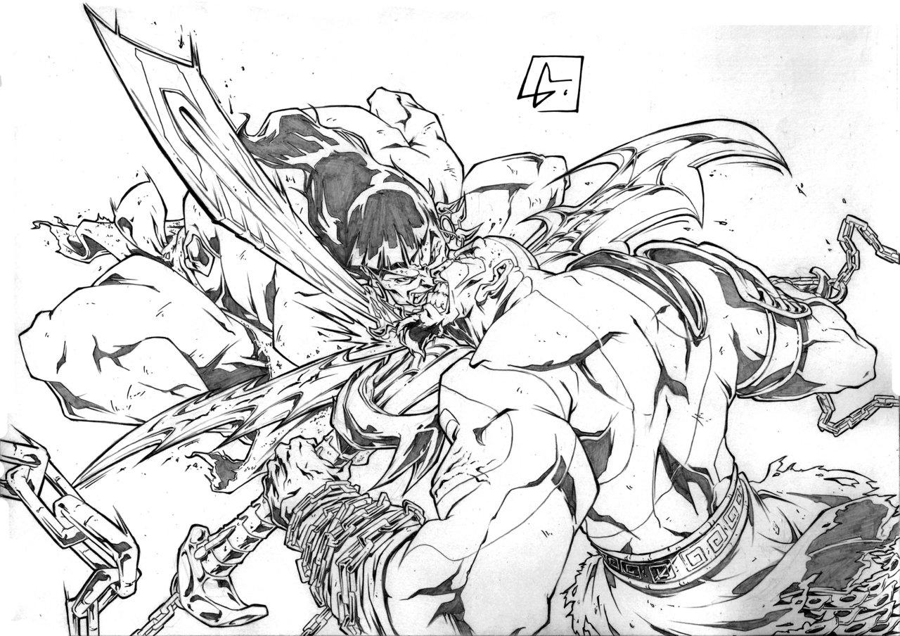 1280x904 Conan Vs Kratos By Marvelmania