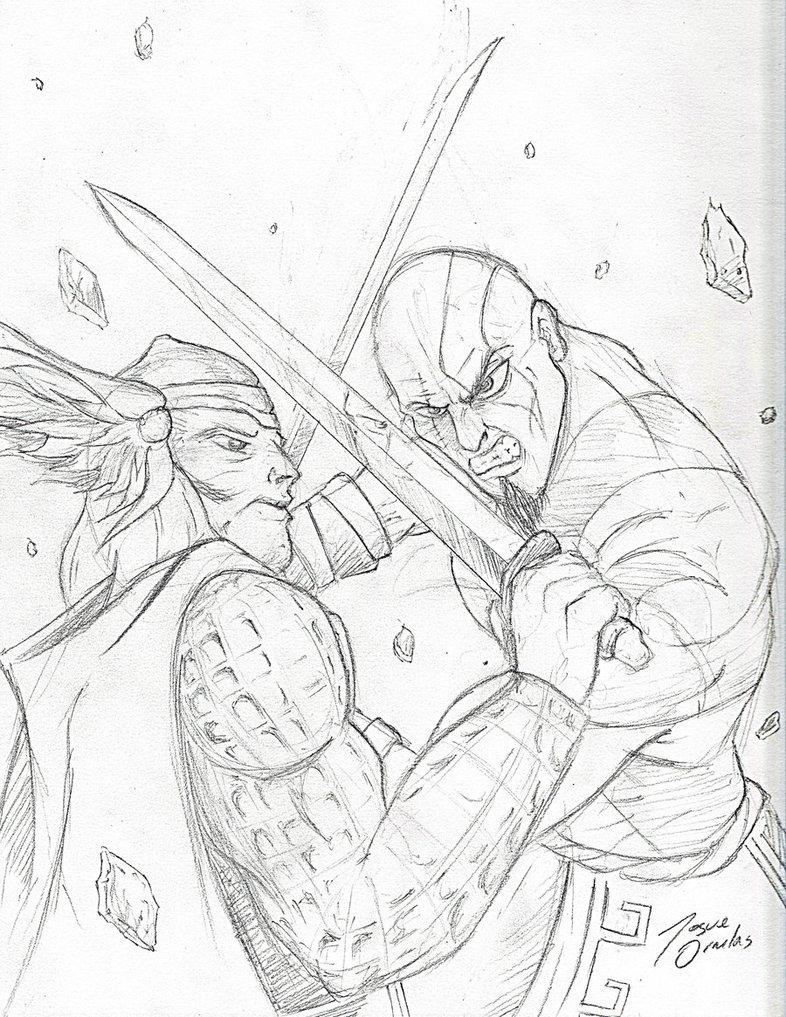 786x1017 Thor Vs Kratos Pencils By Big D Artiz