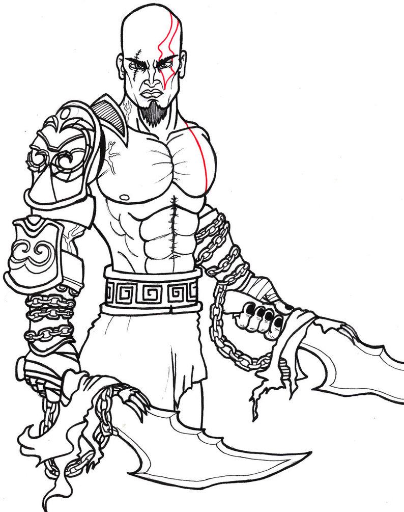 794x1005 Kratos Line Work By Esler85