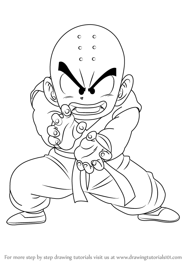 594x844 Learn How To Draw Krillin From Dragon Ball Z (Dragon Ball Z) Step