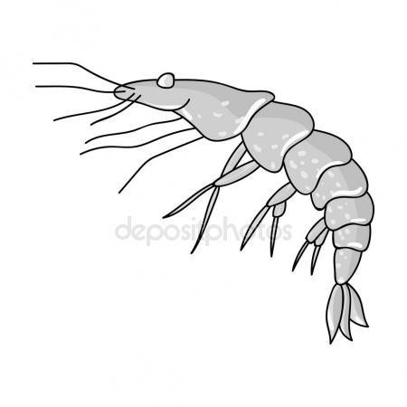 450x450 Shrimp Icon In Monochrome Style Isolated On White Background. Sea