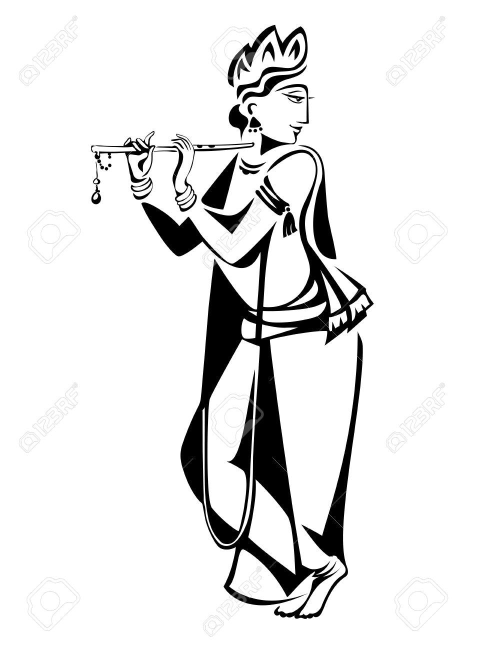 1000x1300 Drawn Flute Krishna Flute