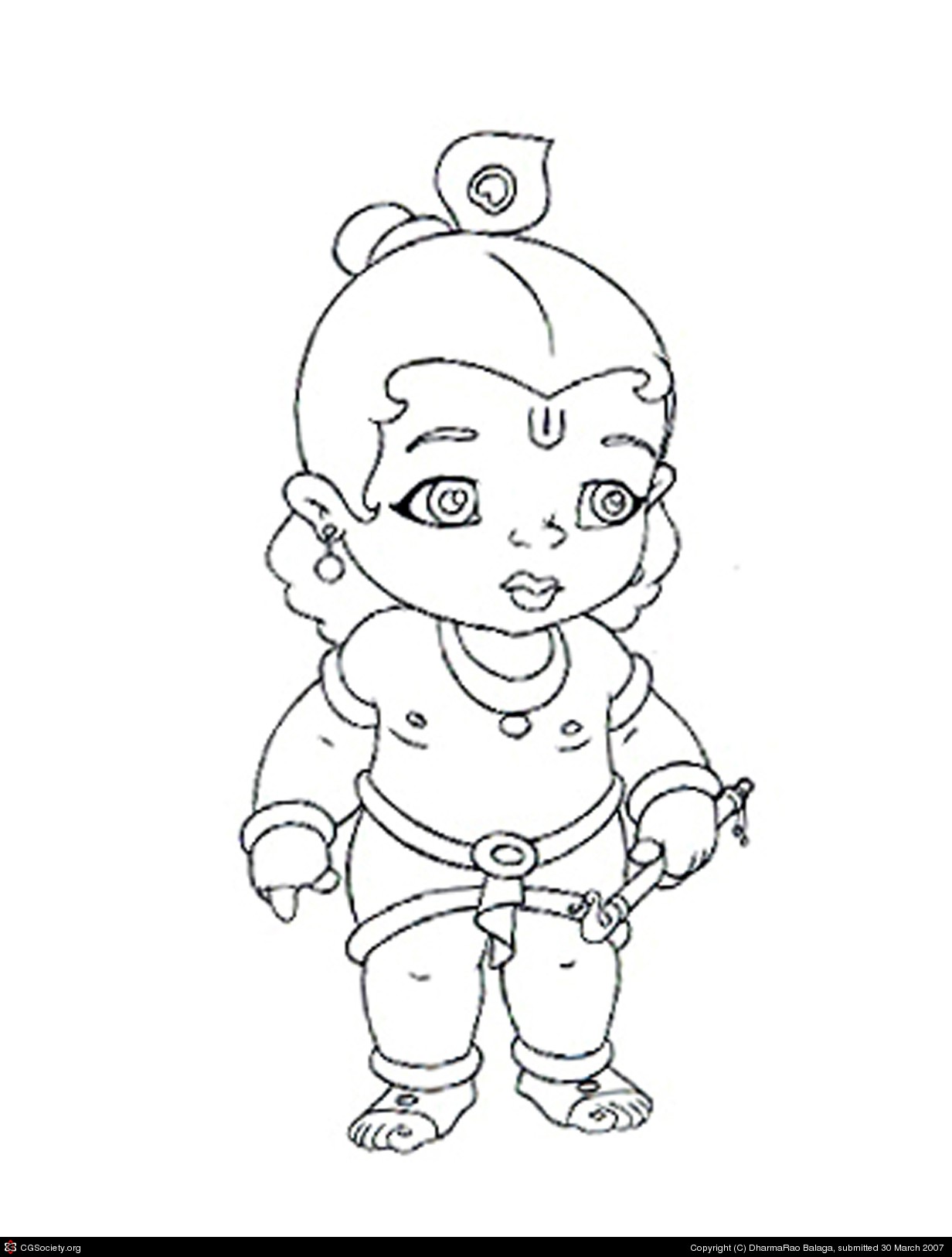 1232x1626 Kid Krishna By Dharmarao Balaga 2d Cgsociety