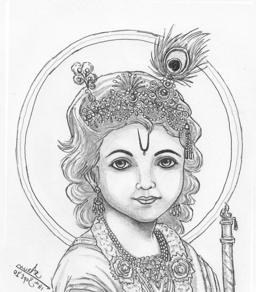 898x1024 Krishna God Pencil Painting Images Of Pencil Drawing Of God
