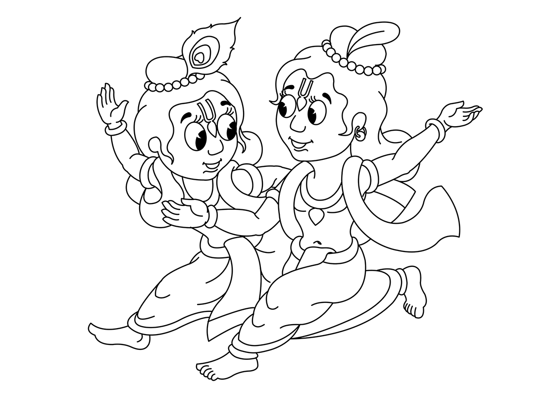 1123x794 Krishna Clipart Line Drawing