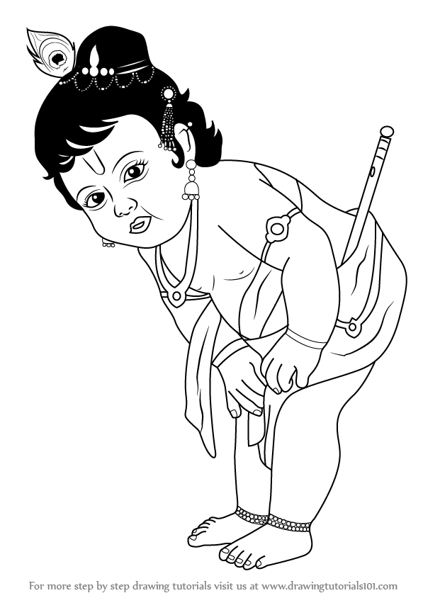 597x844 Learn How To Draw Baby Krishna (Hinduism) Step By Step Drawing