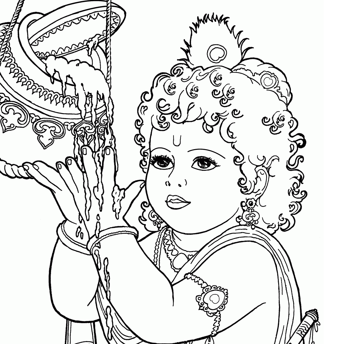 Krishna drawing at free for personal use for Coloring pages of krishna