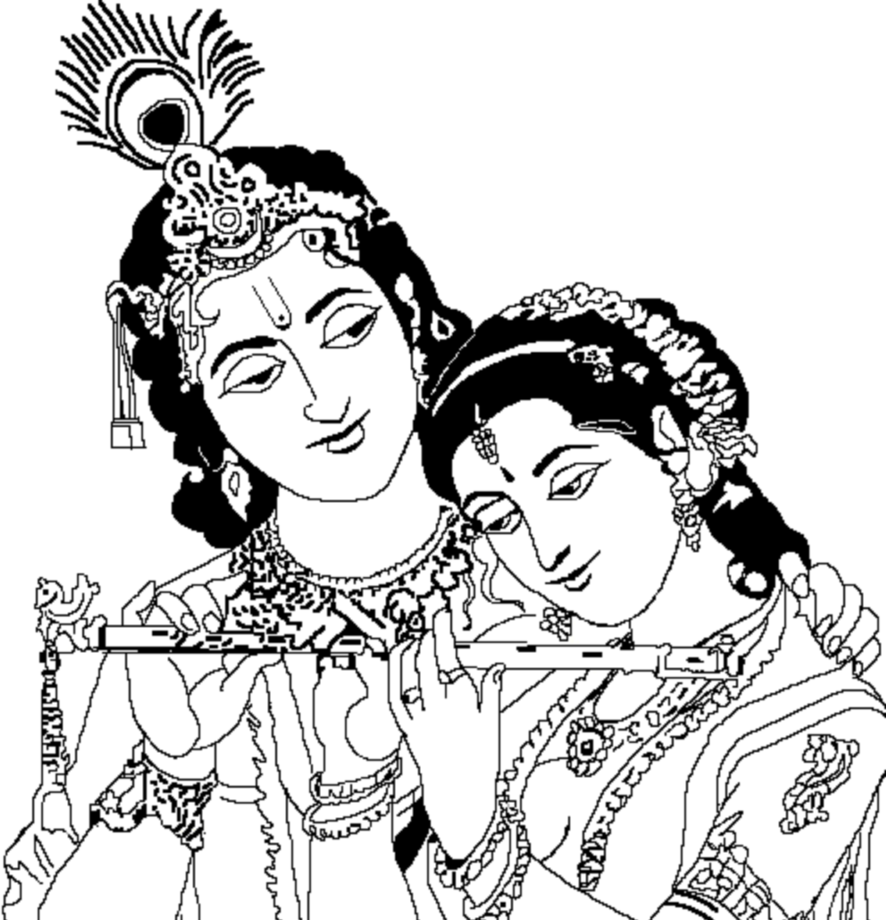 1240x1288 Radha Krishna Black And White Png Transparent Radha Krishna Black