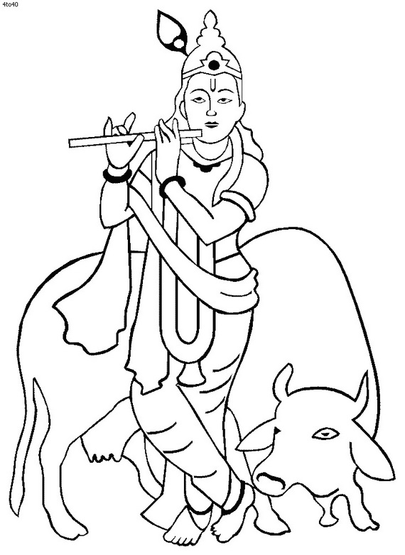 570x782 Shri Krishna Janmashtami Coloring Printable Pages For Kid