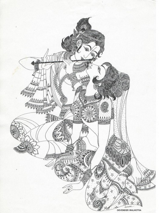 523x700 sketch of lord krishna and radha sketches pinterest lord