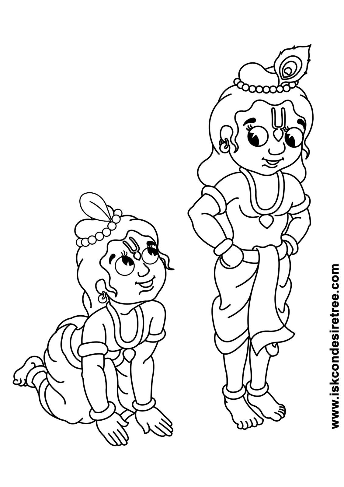 1131x1600 Bhagavat Chintan Das (Bhikaji) Sri Krishna Balarama Line Drawing
