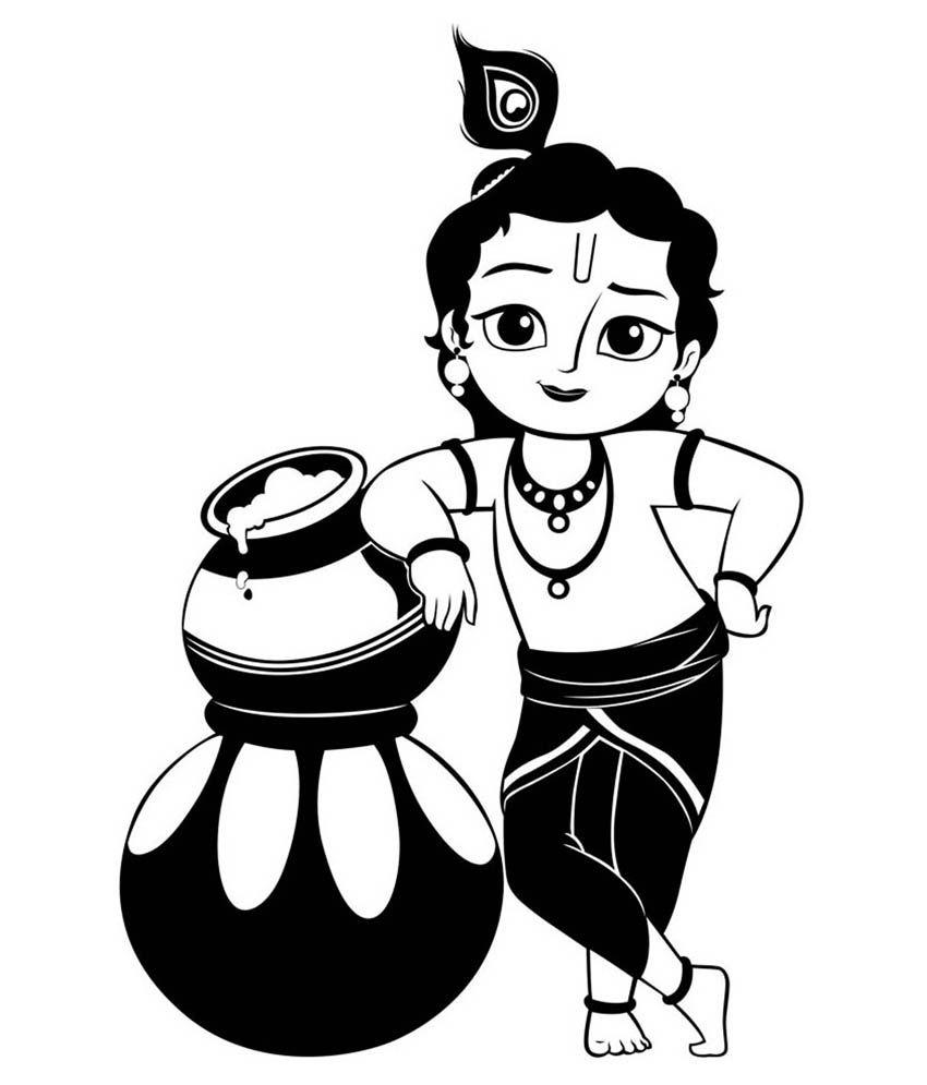 850x995 Krishna Clipart Black And White