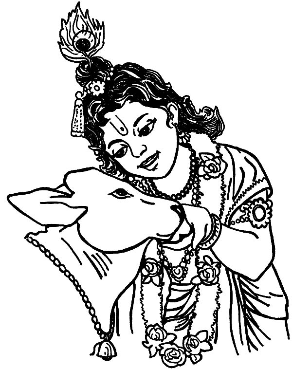 600x758 Krishna Talking Holy Cow Coloring Pages Krishna Talking
