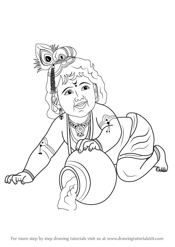 597x844 Learn How To Draw Baby Lord Krishna (Hinduism) Step By Step
