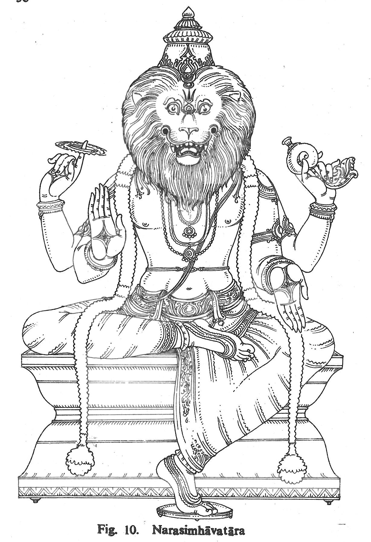 1228x1792 Narasimhavatara Hindu Gods Coloring Book Krishna