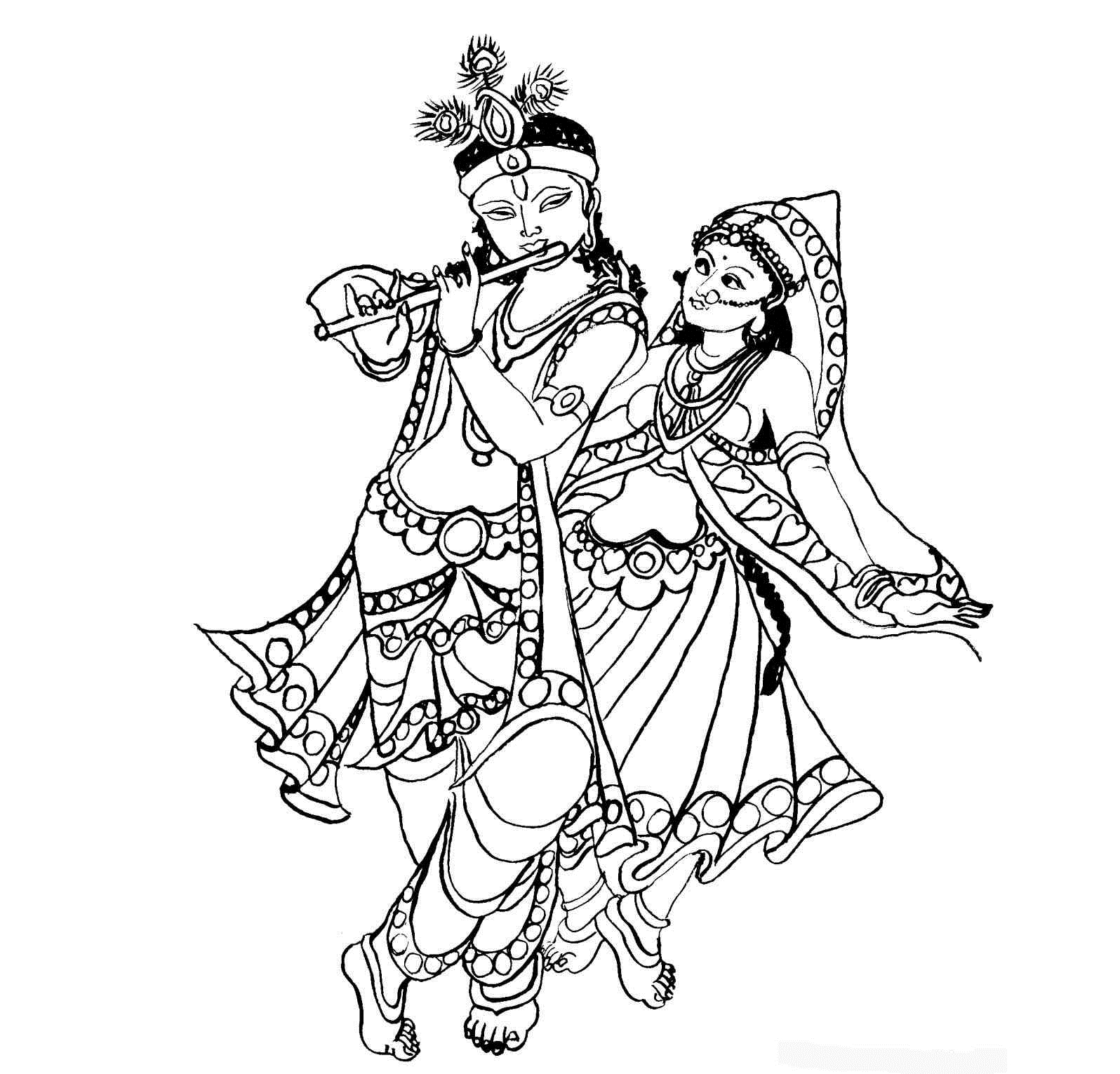 1596x1531 Radha Krishna Line Drawing Colour Drawing Free Wallpaper Lord