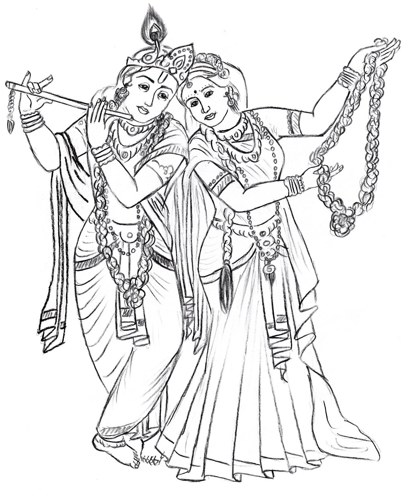 1400x1672 Radha Krishna Line Drawing Radha Krishna Divine Art