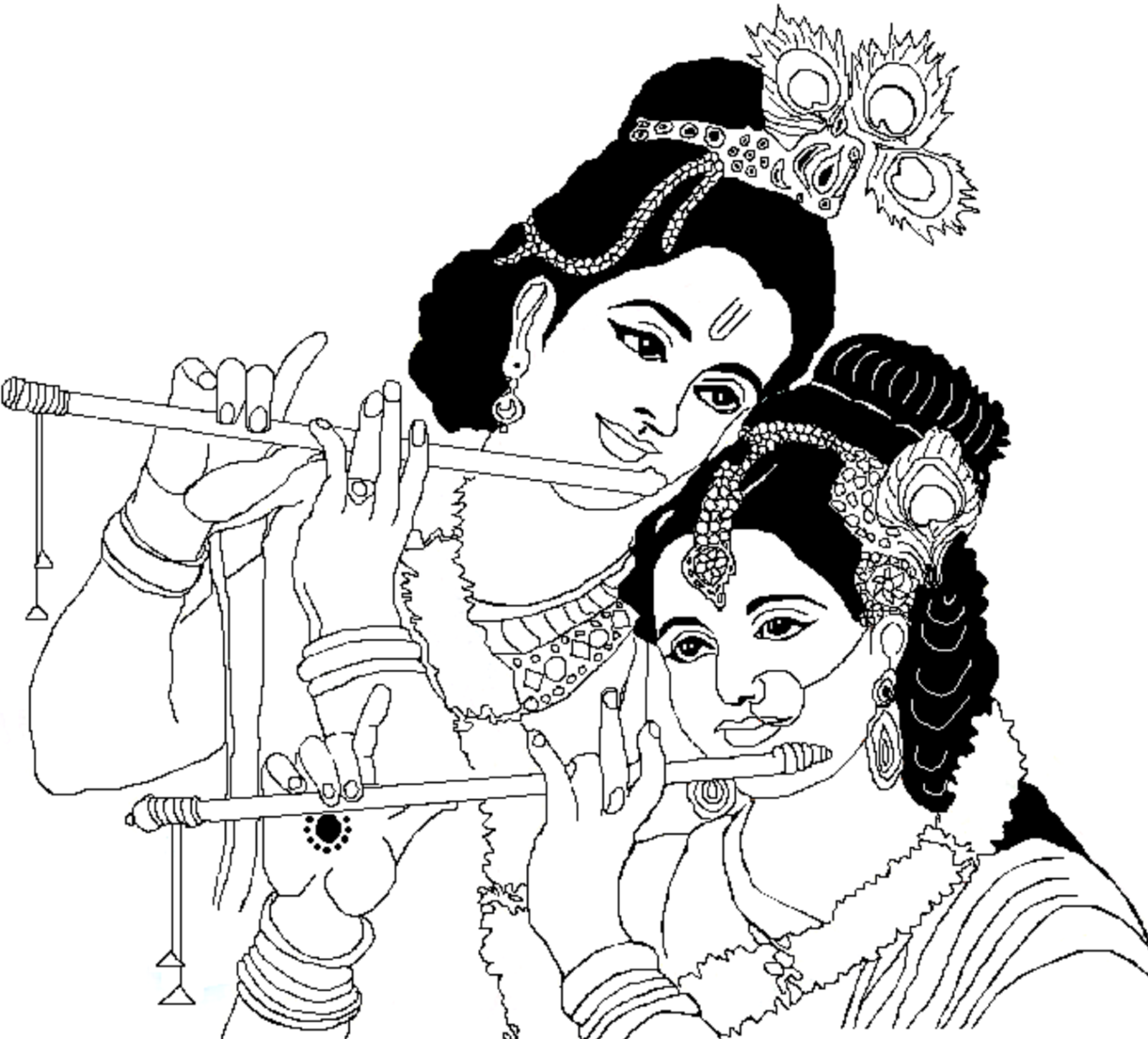 1600x1448 Colour Drawing Free Wallpaper Lord Radha Krishna Coloring Drawing