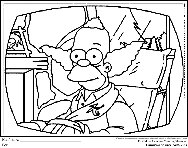 736x579 Simpsons Coloring Pages Krusty The Clown Coloring Pages